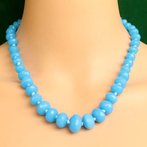 Graduated Turquoise Rondelle Faceted  Crystal Glass Necklace