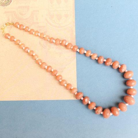 Peach Rondelle Faceted  Crystal Glass Necklace
