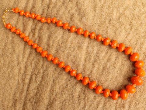 Orange Rondelle Faceted Crystal Glass Necklace