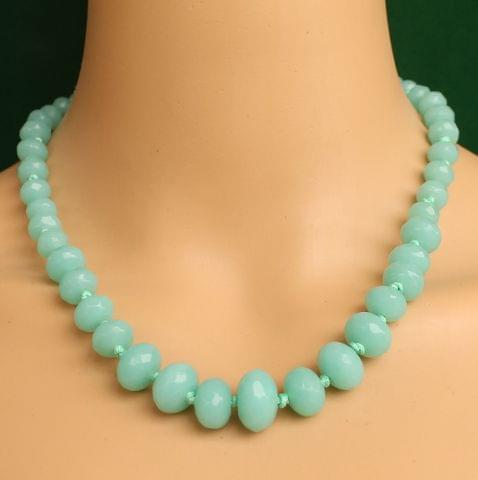 Graduated Sea Green Crystal Glass Necklace
