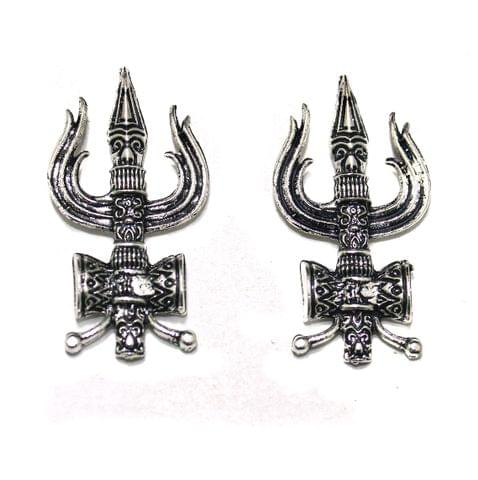 German Silver Lord Shiva Trishul Pendants, Pack Of 5 Pcs, Size: 1.75 inchs
