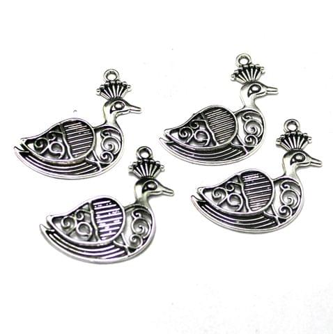 German Silver Peacock Pendant, Pack Of 10 Pcs, Size: 37x32 mm