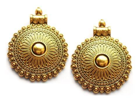 designer pendant, antique golden, round,2 pieces,40mm