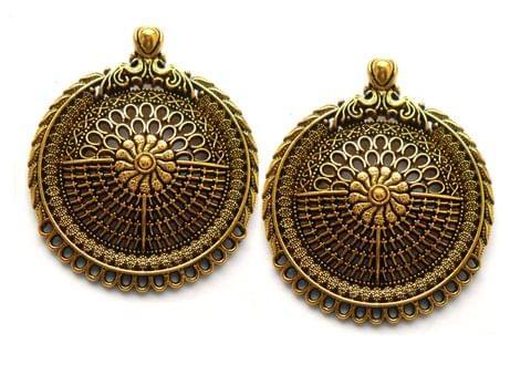 Designer pendant,antique golden,round,2 pieces,40mm