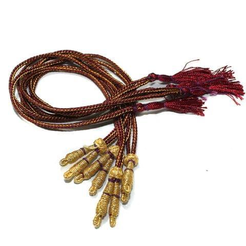 Zari Necklace backrope Dori Maroon, Pack Of 12 Pcs