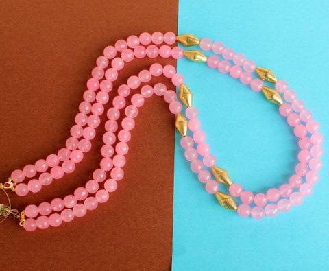 Dual Layer Faceted stone Long Necklace Pink