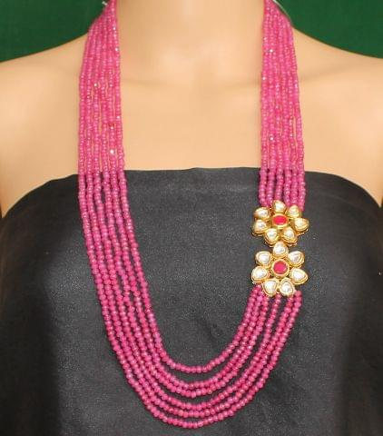 Multi layer Onyx Kundan Long Necklace Green Pink