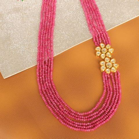Multi layer Onyx Kundan Long Necklace Pink