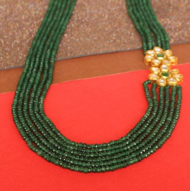 Multi layer Onyx Kundan Long Necklace Green