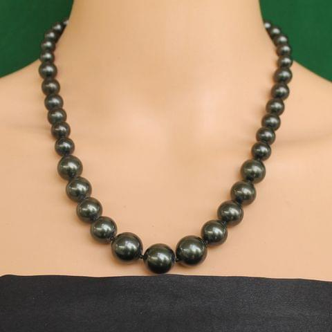 Graduated Shell Pearl Beads Necklace Gun Metal