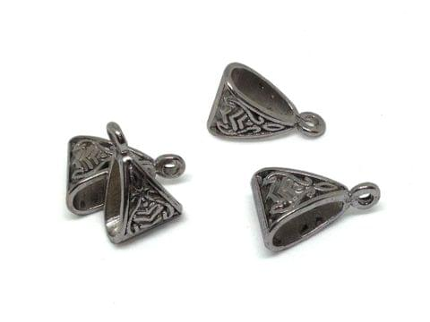 Jewellery Making Metal Alloy Pendant Bails (40 Pieces) 15x10x7mm Triangle Antique Silver Color