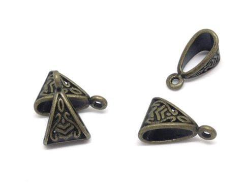 Jewellery Making Metal Alloy Pendant Bails (40 Pieces) 15x10x7mm Triangle Antique Bronze Color