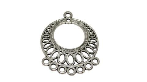 Jewellery Making Metal Alloy Dangler Connector Components 37x29mm Round Antique Silver Color (Pack of 12 pieces)