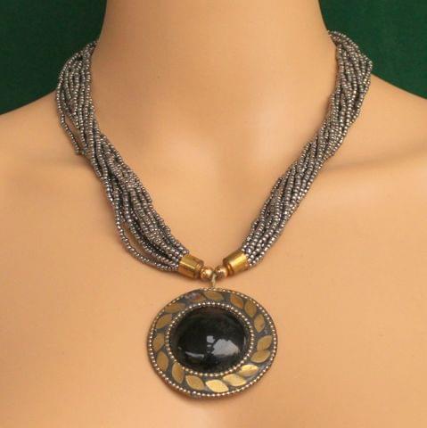 Seed Beads Necklace Metallic With Tibetan Pendant