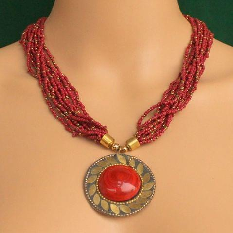 Seed Beads Necklace Maroon With Tibetan Pendant