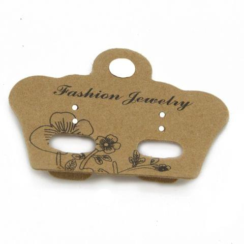 Paper Designer Jewellery Earring Display Cards 5x4cm Crown Brown (Pack of 50 Pieces)