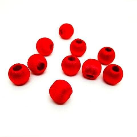 Silk Thread Wrapped Beads Size 10 mm Red 20 beads Jewellery Making