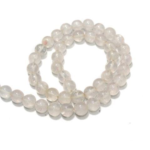 Crystal Quartz Gemstone Beads, Size 09-10 mm, Pack Of 1 String