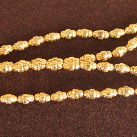 Brass Mani Gold plated Beads, Size 9x6 mm, Pack of 1 string, Approx 100 Pcs