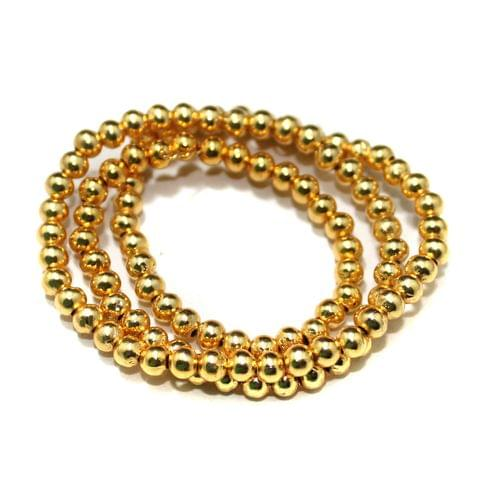 Gold Plated Copper Round Spacer Beads, Size 4 mm, Pack of 1 string, Approx 100 Pcs