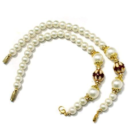 Designer Meenakari Beaded Necklace Dori White, Pack Of 1 Pc