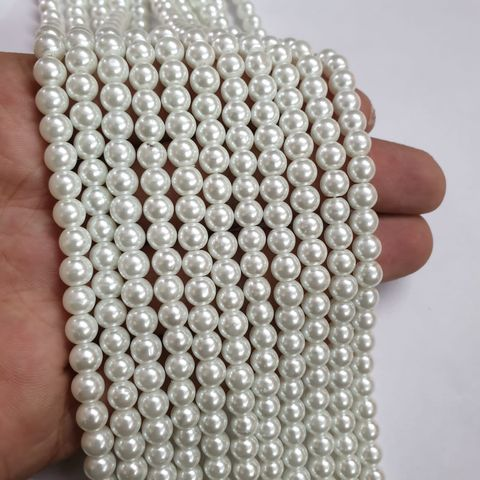 White Glass pearl, 70+ beads in each string, 15-16 inch, 5 lines, 6mm