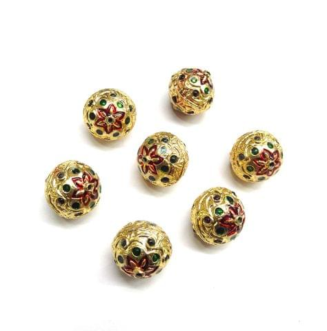 Jadau Meenakari Golden Beads for Jewellery Making, 5pcs, 18x16mm