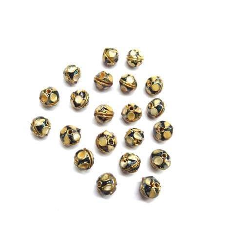 Meenakari Small Beads for Jewellery Making, 10pcs, 6x7mm