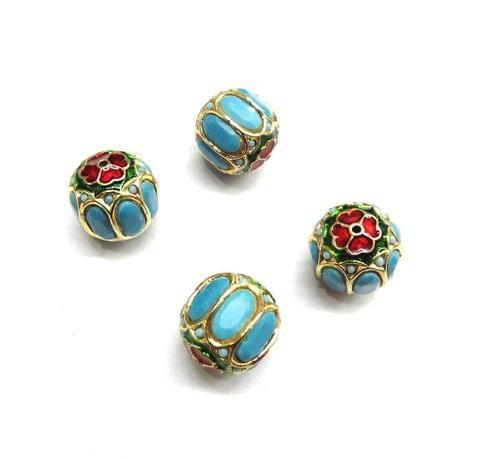 Turquoise Jadau Meenakari Round Beads For Jewellery Making, 4pcs, 15mm