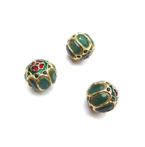 Green Jadau Meenakari Round Beads For Jewellery Making, 3pcs, 15mm