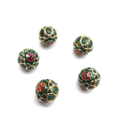 Green Jadau Meenakari Round Small Beads For Jewellery Making, 6pcs, 12mm