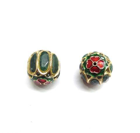 Green Jadau Meenakari Round Beads For Jewellery Making, 2pcs, 18mm