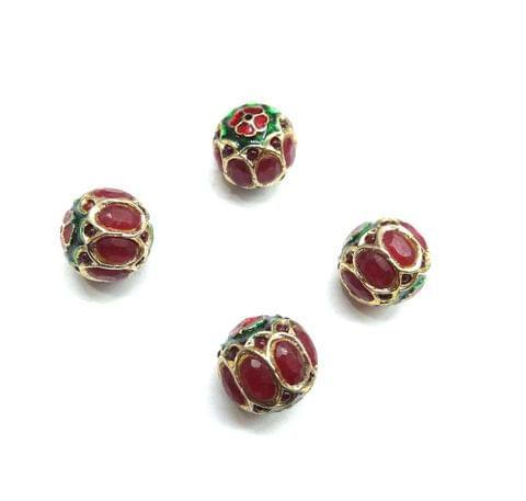 Red Jadau Meenakari Round Small Beads For Jewellery Making, 6pcs, 12mm