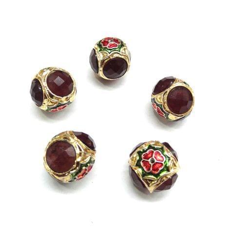 Brown Jadau Meenakari Round Beads For Jewellery Making, 5pcs, 16x18 mm