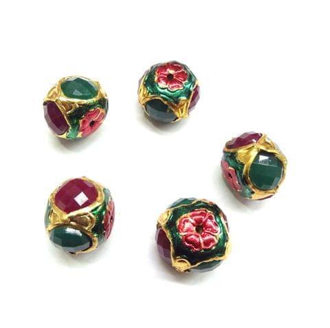 Green & Red Jadau Meenakari Beads For Jewellery Making, 5pcs, 16x19mm