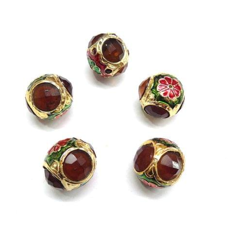 Brown Jadau Meenakari Beads For Jewellery Making, 5pcs, 17x19mm