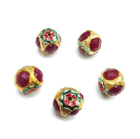 Red Jadau Meenakari Beads For Jewellery Making, 5pcs, 14x15mm