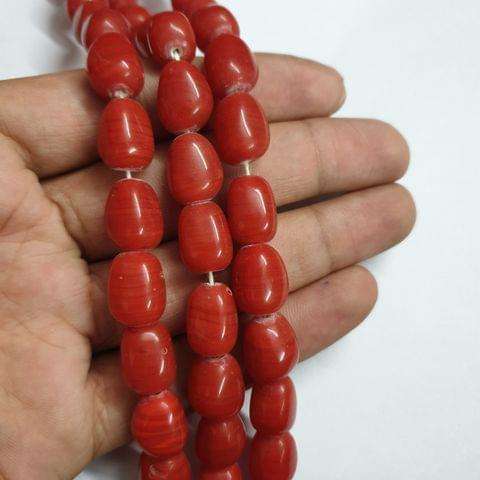 Red Tumble Shape Jade Strand, 20+ beads, 12-13 inch, 2 line, 14x10mm