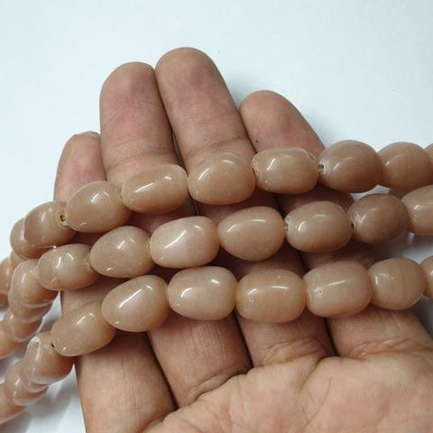 Brown Tumble Shape Jade Strand, 20+ beads, 12-13 inch, 2 line, 14x10mm