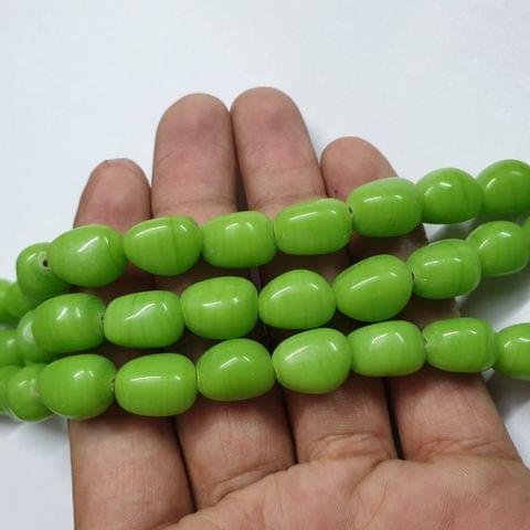 Light Green Tumble Shape Jade Strand, 20+ beads, 12-13 inch, 2 line, 14x10mm