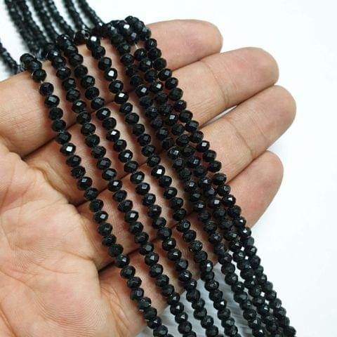 Black Faceted Rondelle Shape Glass Beads, 135+ beads in each strand, 16-17 Inches, 6 Lines, 4mm