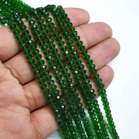 Green Faceted Rondelle Shape Glass Beads, 135+ beads in each strand, 16-17 Inches, 6 Lines, 4mm