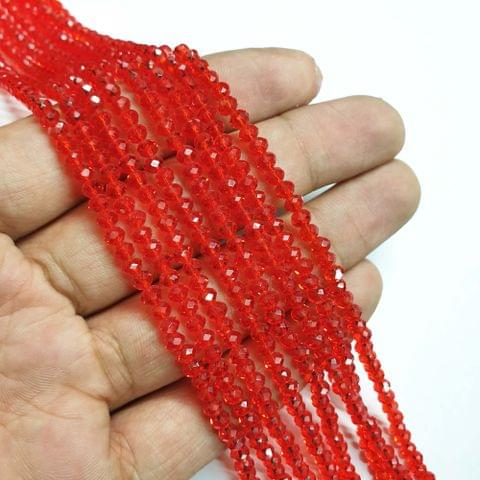 Red Faceted Rondelle Shape Glass Beads, 135+ beads in each strand, 16-17 Inches, 6 Lines, 4mm