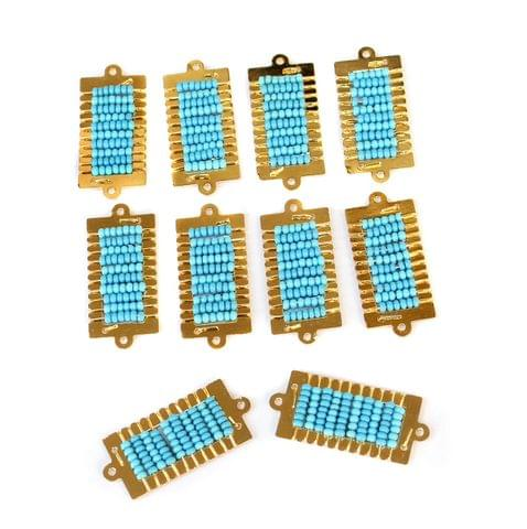 Gold Plated Miyuki Seed Beads Square Connector and Earrings Components Charms Sky Blue 28x15mm, Pack Of 10 Pcs