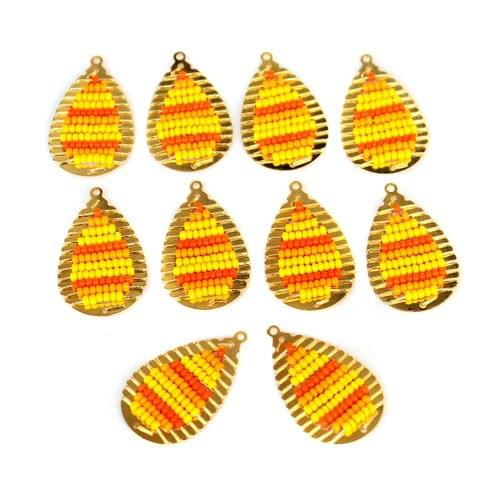 Gold Plated Miyuki Seed Beads Drop Earring Components Charms Yellow 28x15mm, Pack Of 10 Pcs
