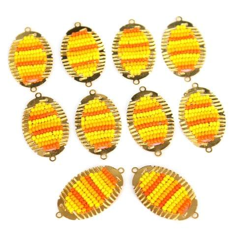 Gold Plated Miyuki Seed Beads Oval Connector and Earrings Components Charms Yellow 28x15mm, Pack Of 10 Pcs