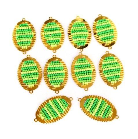 Gold Plated Miyuki Seed Beads Oval Connector and Earrings Components Charms Green 28x15mm, Pack Of 10 Pcs