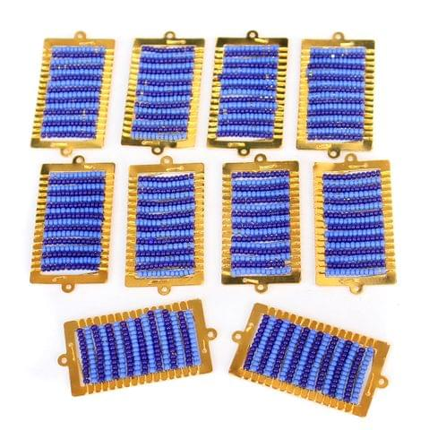 Gold Plated Miyuki Seed Beads Square Connector and Earrings Components Charms Blue 42x19mm, Pack Of 10 Pcs