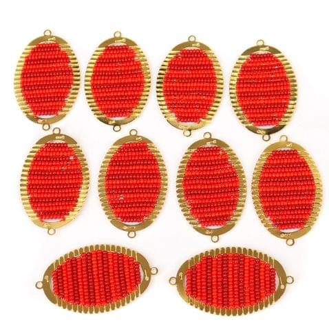 Gold Plated Miyuki Seed Beads Oval Connector and Earrings Components Charms Red 42x19mm, Pack Of 10 Pcs