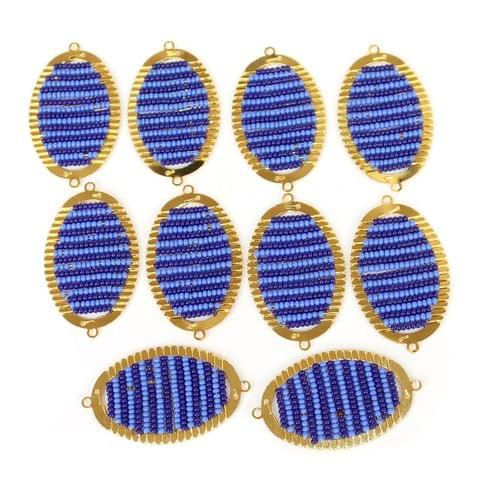 Gold Plated Miyuki Seed Beads Oval Connector and Earrings Components Charms Blue 42x19mm, Pack Of 10 Pcs